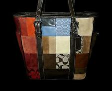 COACH VINTAGE MULTI SIGNATURE SUEDE PATCHWORK LUNCH GALLERY BOOK BAG TOTE PURSE