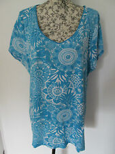 GEORGE - BLUE ABSTRACT V- NECK CAP SLEEVE T-SHIRT size 24 - 100% COTTON