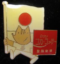 Coca Cola Olympic Pin - Japan Flag With Mascot
