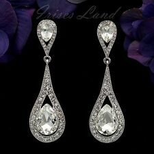 Rhodium Plated Clear Crystal Rhinestone Wedding Bridal Drop Dangle Earrings 8706