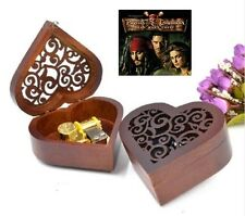 Heart Carving Wood Wind Up Music Box  : Pirates of the Caribbean Davy Jones