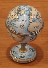 "HALCYON DAYS ENAMEL CLOCK GLOBE ON STAND 3 5/8"" TALL MINT CONDITION"