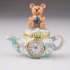 kettle w/ clock trinket box by Keren Kopal Austrian Crystal Jewelry box Faberge