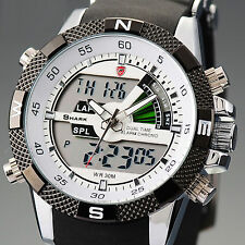 SHARK Fashion Mens Digital LCD Rubber Date Day Quartz Sport Military Wrist Watch
