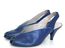 UK 5.5 / 6  Vintage shoes - Hoofs - Blue leather slingbacks - 38.5 / 39 -1980s
