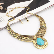 Vintage Exotic Rhinestone Pendant Chain Choker Chunky Collar Necklace Earring