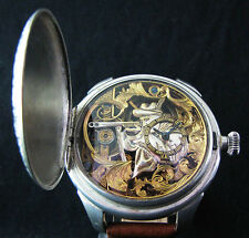 Antique 1890 HEBDOMAS 8 Days SKELETON Deco Wristwatch All Engraved HUNTING SCENE