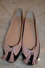 "BALLY ""GRUNE"" Pink and Black Spectator Ballet Flat with Tassel 39.5"