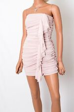 EXPRESS Cocktail Mini Dress Pink Chiffon Strapless Wedding Prom Size 0 XS Small
