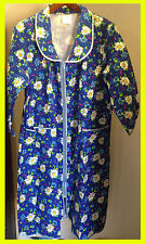 100% Cotton Women's Robe with Zipper - Blue with White & Blue Daisies - Sz XXL