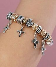 Cross Charm Bracelet-Two-Tone