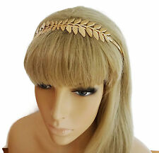 Beautiful Headband in a Grecian Leaf Design in Gold Tone Flexible Metal Prom