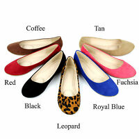 New Womens Cute Casual Comfort Slip On Round Toe Ballet Suede Leather Flat Shoes