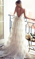Sexy Summer Spaghetti Straps Wedding Dress Boho Appliques Bridal Gown Custom