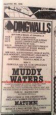 MUDDY WATERS Dingwalls, London 1978 small UK Press ADVERT 6x4 inches