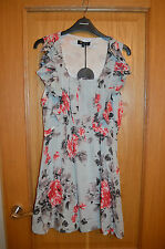 Cutie Short Duck Egg Sleeveless Floral Dress Size 14