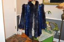 pristine dyed blue x2 mink fox fur trim tuxedo coat jacket
