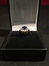 9ct Gold, White Sapphire & Blue Sapphire Ring - Fully Hallmarked - Size 7.5 (O)