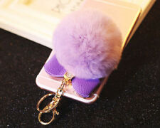 Purple Rabbit Fur Pom-pom Key Chain  Ring Bag Charm Fluffy Puff Ball Bow Pendant