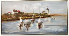 Ölbild Leinwand Rahmen Hafen Schiffe PC-86 Vintage Wand Deko Geschenk 60x120 cm