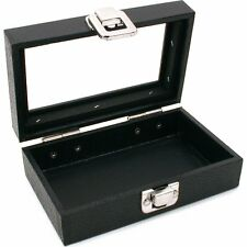Glass Top Black Jewelry Display Travel Case Box Tray 6""