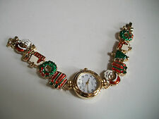 Designer inspired red /gold/green finish christmas fashion women's watch