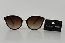 New Banana Republic Men Women Fashion Sunglass Gold Metal Frame Brown Round Lens