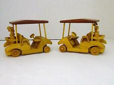 "Set Of Two HANDCRAFTED Wooden Golf Carts w/ Golf Clubs ""NANA"" & ""R & A BROWNS"""