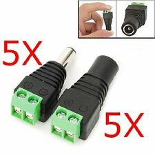 5Pcs Male & Female Mark Polarity DC Power Jack Adapter Connector Plug Led Strip