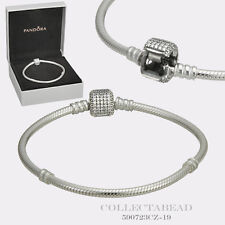 "Authentic Pandora Silver Bracelet Signature Lock 8.3"" Hinged Box 590723CZ-21"