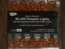 HALLOWEEN LED LIGHTED BATTERY JACK O LANTERN PUMPKIN LIGHT STRAND STRING SET 20