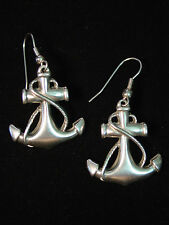 Silver Pewter ANCHOR French Wire Earrings~Sail Sea