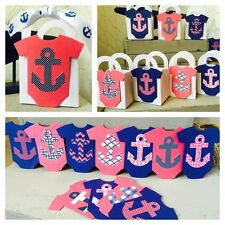 12 Anchor Nautical Baby shower favor boxes Pink & Navy Onesies Adorable!!