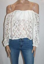 Lioness Brand Cream Lace Off Shoulder Crop Top Size 10-S BNWT #SY17