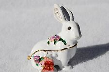 SWAROVSKI CRYSTAL BEJEWELED ENAMEL HINGED TRINKET BOX - WHITE RABBIT