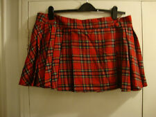 Red Tartan Double Buckled Wrap Round Pleated Mini Skirt by RED HERRING, Size 18