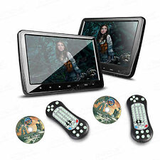 """2X HDMI 10"""" HD LCD Clip On Monitor Car Active Headrest Restraint DVD Player Game"""