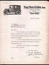 1923 Fay Taxi Cabs - New York - Vintage Letter Head Rare