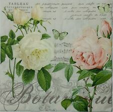 JARDIN DE ROSES  2 individual LUNCH SIZE  paper napkins for decoupage 3-ply