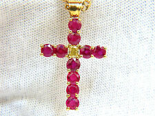 █$11000 5.07CT BRILLIANT NATURAL FANCY YELLOW BLOOD RUBY DIAMOND CROSS PENDANT