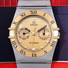 FANTASTIC OMEGA CONSTELLATION MEN'S QUARTZ SS GOLD DIAL DAY/DATE DIAMONDS WATCH