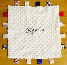 PERSONALISED BABY TAGGY BLANKET, SNUGLY COMFORTER NEWBORN BOYS & GIRLS GIFT