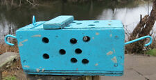 WOOD BAIT BOX Trap Crab Aqua BLUE Party Decor Tiki Fish Lobster Shrimp Vntg