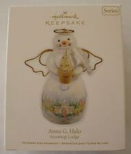 Hallmark 2011 Snowtop Lodge #7 Series Anna Halo Angel Christmas Snowman Ornament