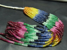 Ebay 100% Natural Multi Sapphire,Ruby,Emerald Rondelle Gemstone Beads Strand 14""