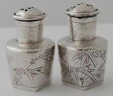 CHINESE EXPORT SILVER CONDIMENT CRUET SET SALT & PEPPER TACK HING HONG KONG