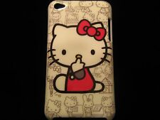 Hello Kitty Cover Case for iPod Touch 4th Gen Red w/ B&W Multi Scene Background