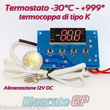 TERMOSTATO DIGITALE ELETTRONICO 12V DC TERMOCOPPIA TIPO K TERMOMETRO 10A LED
