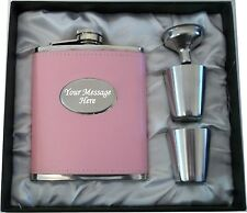 Engraved 7oz Pink Hip Flask Bride - Bride To Be Wedding Personalised Gift