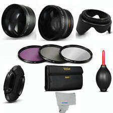 Wide Angle + Telephoto Lens, Filters +HOOD + CAP for Panasonic Lumix DMC-FZ200